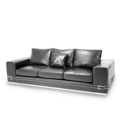 Ciras Black Leather Mansion Sofa