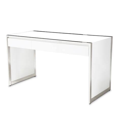State St. Glossy White Writing Desk