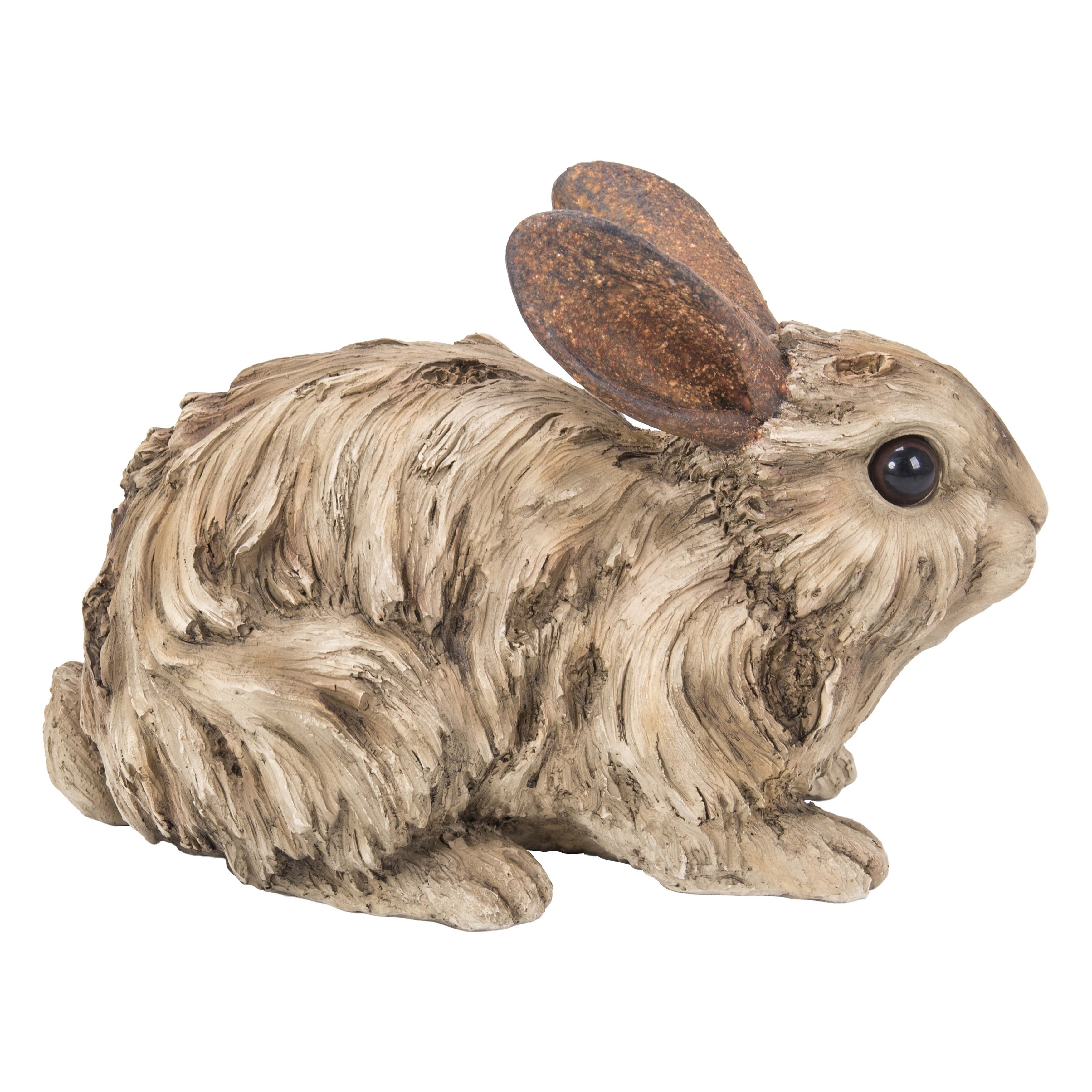 Rabbit Small Figurine Statue Carved Driftwood Look Home Garden Free Ship New