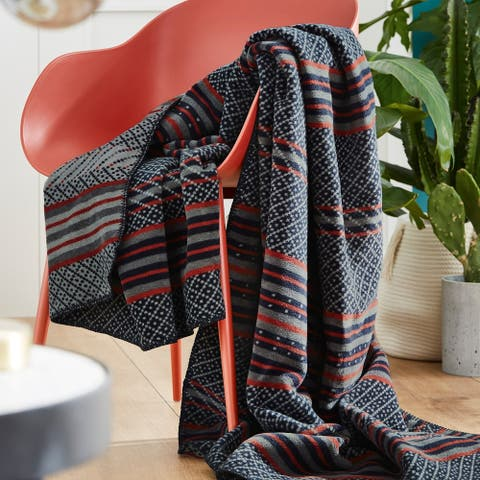 s.Oliver Blue Multi Intricate Stripe Design Woven Throw Blanket