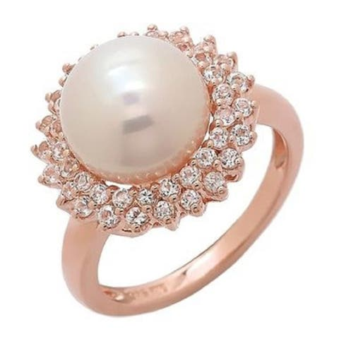Pink Freshwater Halo Pearl Ring with two row of White Topaz in Rose Gold Plated, by Pearl Lustre