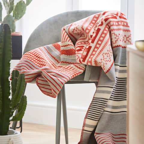 The Curated Nomad Wiese Southwestern Orange Striped Throw Blanket