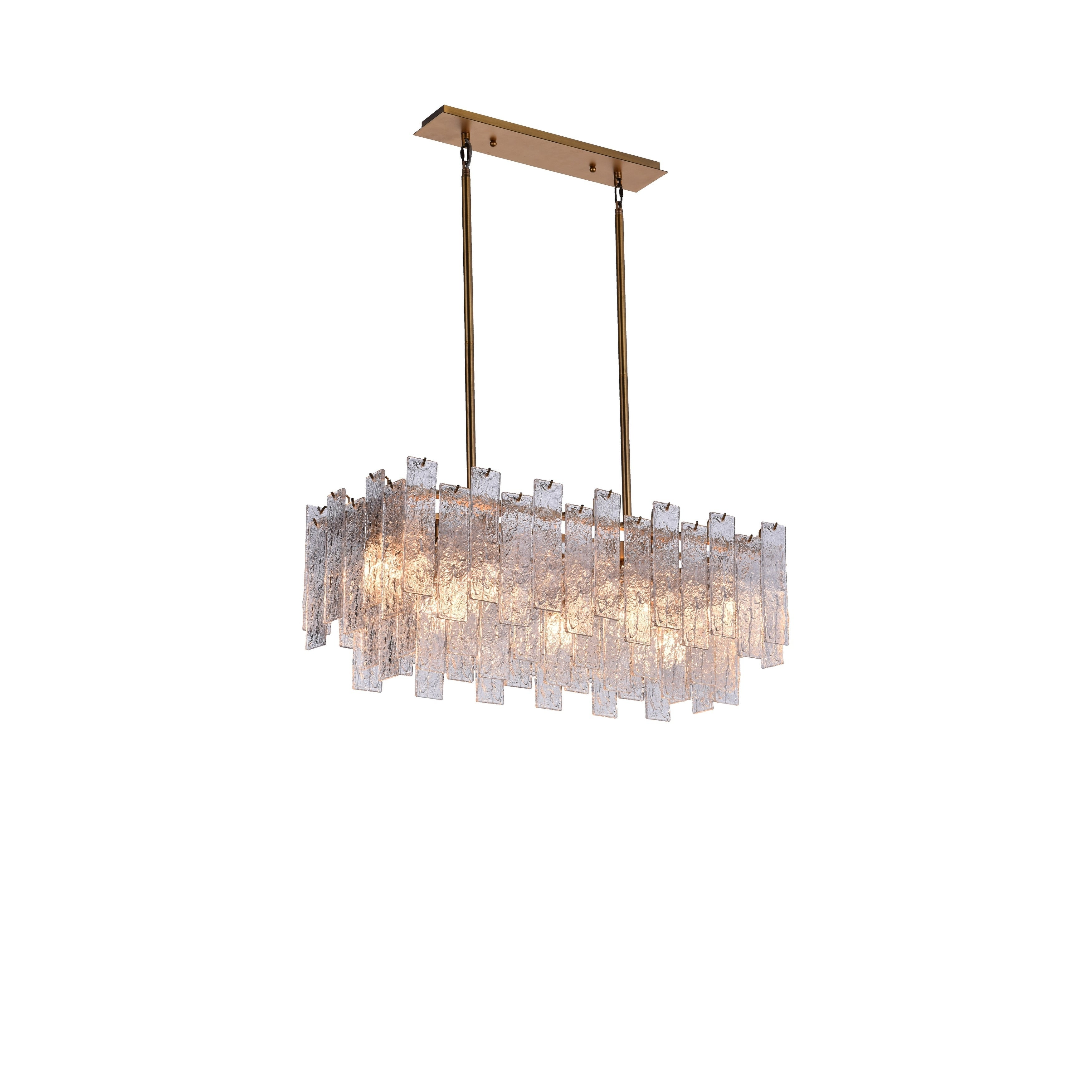Image of: Shop Black Friday Deals On Rectangular Crystal Modern Contemporary Mid Century Dining Living Room Chandelier With Warm Brass Finish Overstock 29045822