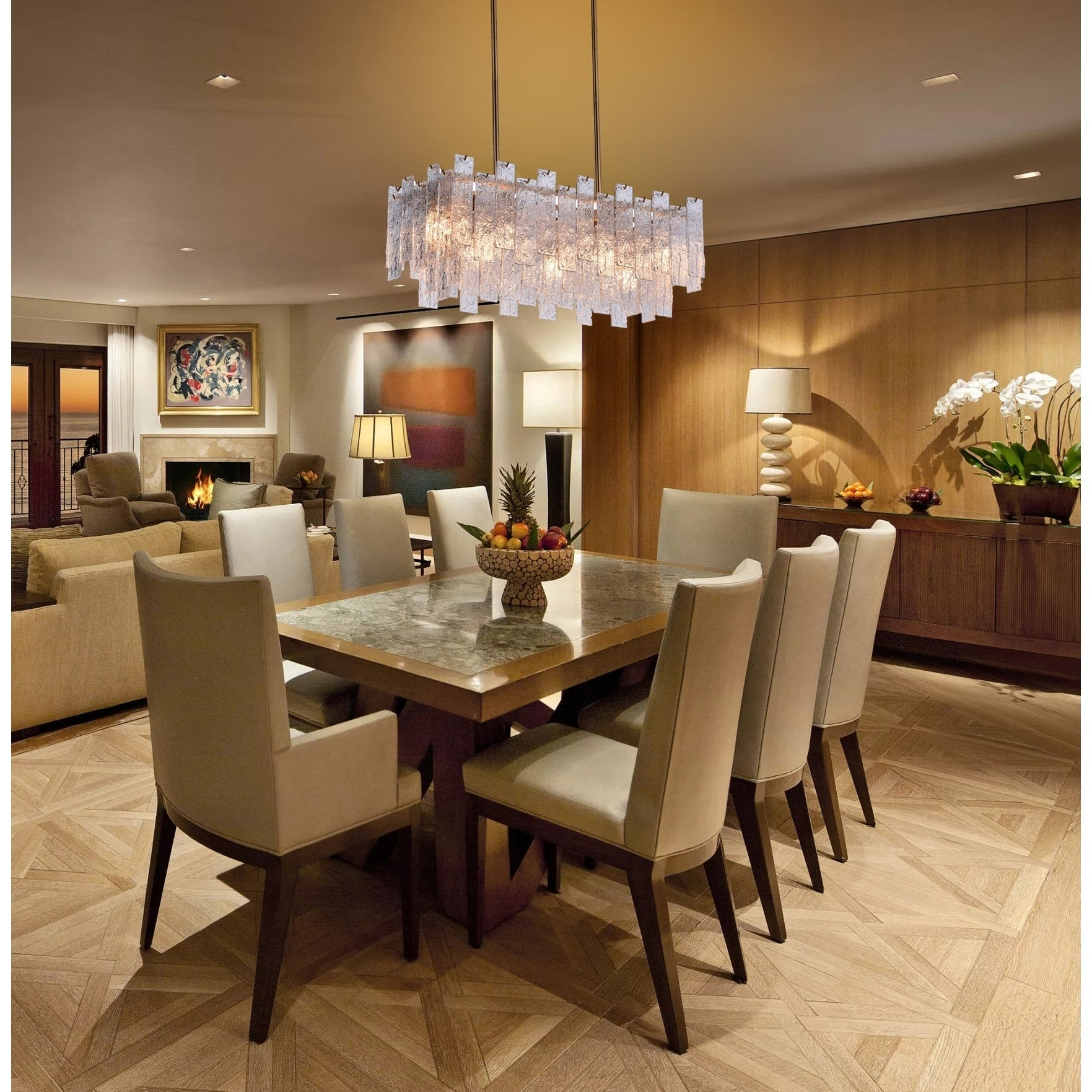 Rectangular Crystal modern contemporary mid-century Dining Living room  chandelier with Warm Brass Finish
