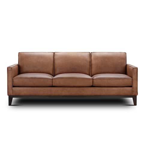 Olney Leather Sofa with Wood Base