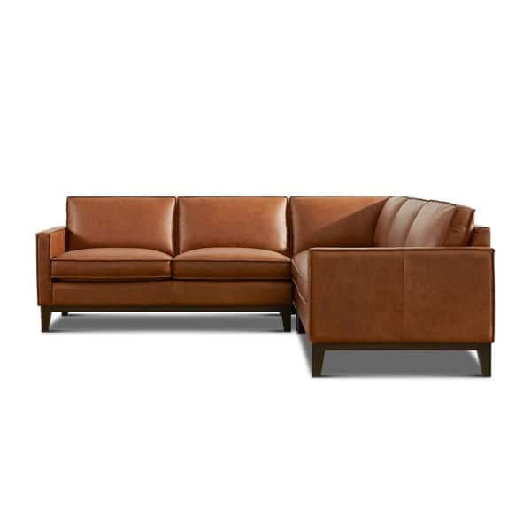 Surprising Shop Olney Leather Sectional With Wood Base On Sale Free Creativecarmelina Interior Chair Design Creativecarmelinacom