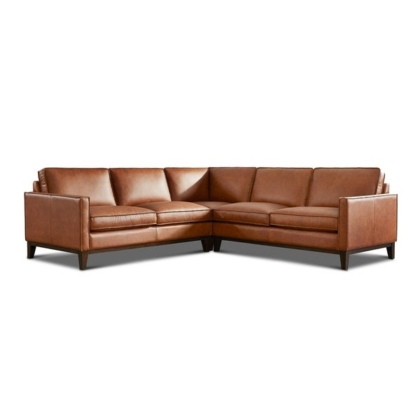 Olney Leather Sectional with Wood Base