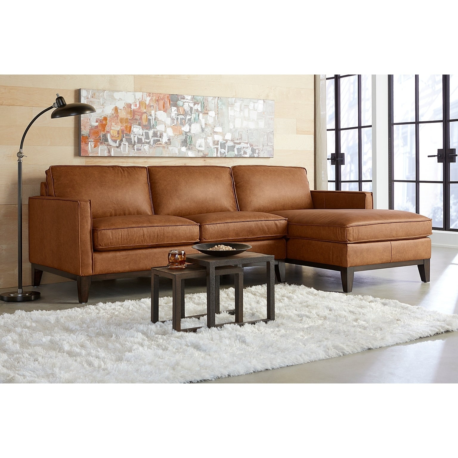 Olney Leather Sofa Chaise Right Arm Facing with Wood Base