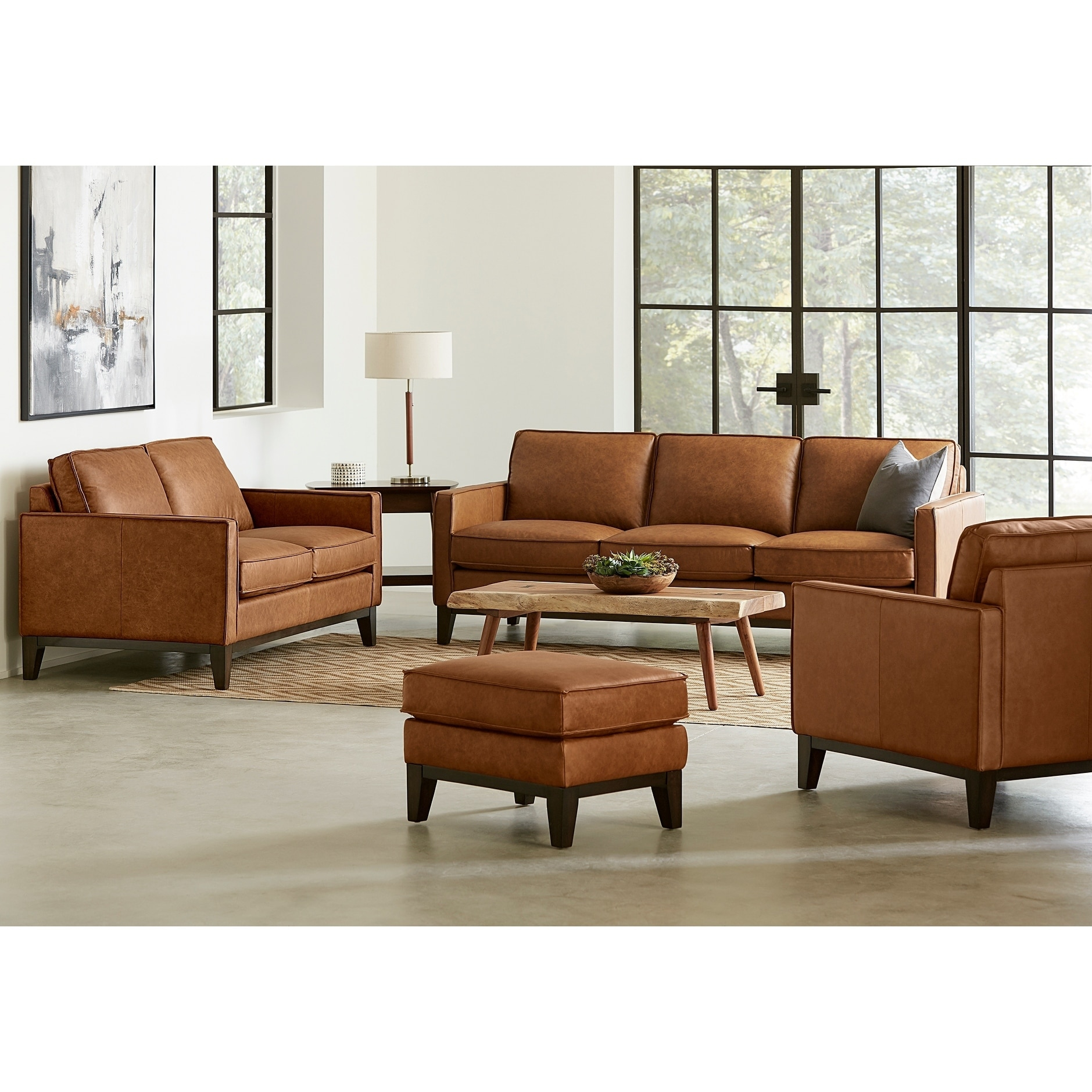 Dark Brown Leather Furniture Set Sofa Loveseat Accent Chair Ottoman Sofas Chairs