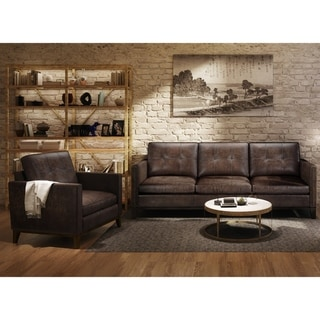 Waldorf Two Piece Leather Tufted Sofa and Chair Set with Wood Base