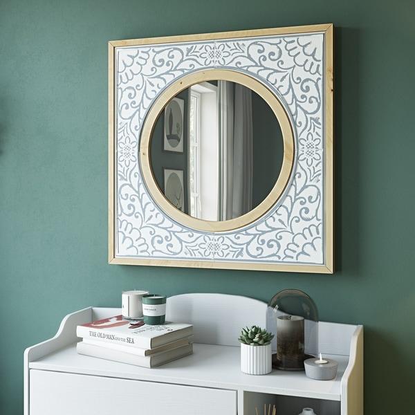 "Daria Square Wall Mirror - 32""H x 32""W x 2""D (Mirror only: 19""H x 19""W)"