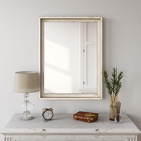 """Laurie Farmhouse Wall Mirror - 26""""H x 20.5""""W x 2""""D (Mirror only: 23""""H x 17""""W)"""