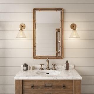 "Carbon Loft Berlik Copper Metal Wall Mirror - 33""H x 20.5""W x 1""D (Mirror only: 29""H x 16.5""W)"