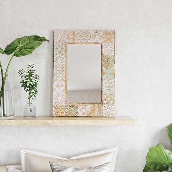 Nyah Wood Wall Mirror - N/A