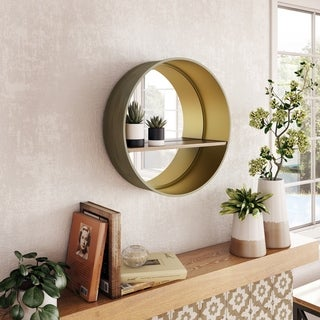 "Holden Mirror with Shelf - 19""H x 19""W x 5.5""D (Shelf: 17""W x 5""D)"
