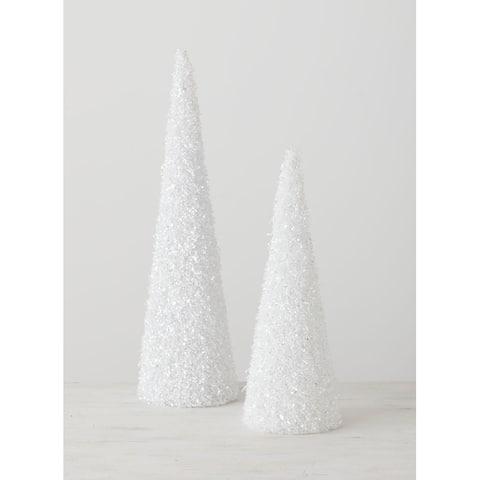 "White Glitter Trees - Set of 2 - 7""L x 6""W x 24""H, 6.5""L x 6""W x 18""H"