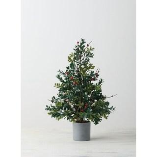 "Boxwood & Berry Potted Tree - 10""L x 10""W x 20.5""H"