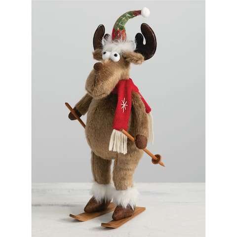"""Standing Reindeer on Skis - 7""""L x 6""""W x 14.5""""H"""