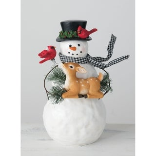 "Snowman with Fawn & Cardinals Figure - 11""L x 8""W x 14.5""H"