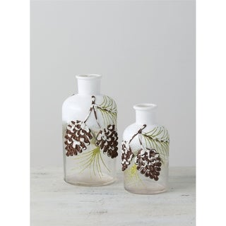 "Pinecone Bottle Vases - Set of 2 - 3.25""L x 3.25""W x 6.5""H, 2.75""L x 2.75""W x 5""H"