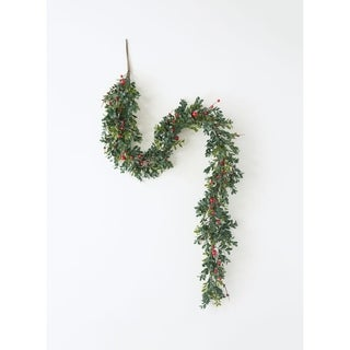 "Boxwood & Red Berry Garland - Green, Red - 5'L x 4""W x 7""H"