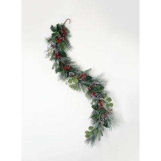 "Mistletoe, Foliage, Pine, Cone, & Red Berry Garland - Green, Red, Brown - 6'L x 6""W x 15""H"