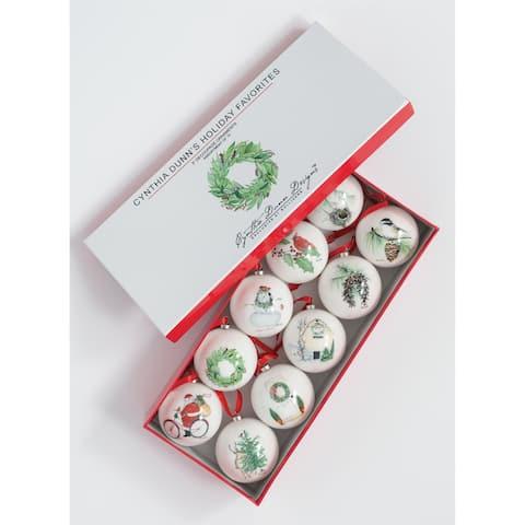 "Cynthia Dunn Holiday Favorites Ornaments - Set of 10 - 3""L x 3""W x 3""H, 15""L x 6.5""W x 3""H"