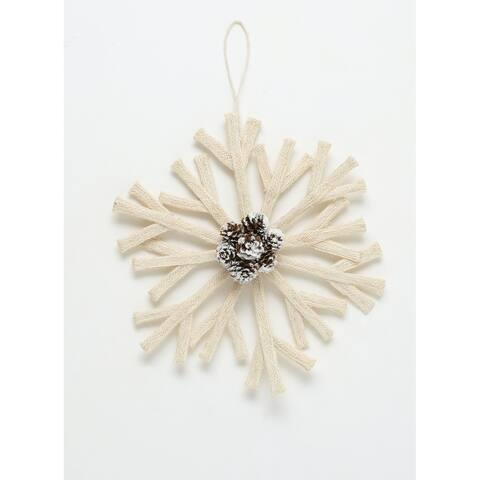 """Cream Snowflake Ornament with Pinecone Accent - 12""""L x 2""""W x 13""""H"""