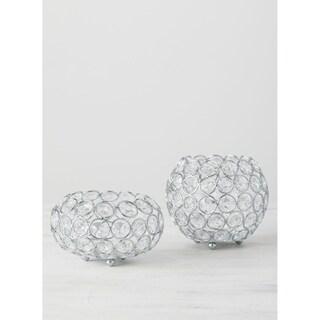 "Crystal Candleholders - Set of 2 - 5""L x 5""W x 4.25""H, 5""L x 5""W x 3""H"