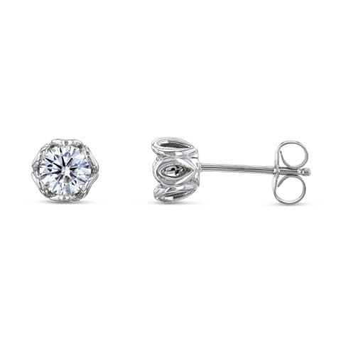 Annello by Kobelli 14k White Gold Lily 5mm Forever One Colorless Moissanite Stud Earrings (1ct TGW, DEF/VS)