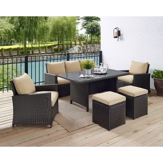 6-Piece Patio Wicker 7 Seat Dining Sofa Set with Glass Top Table