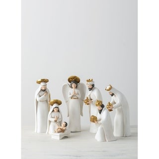 "Link to White & Gold Nativity - Set of 7 - 3.5""L x 4.5""W x 12""H, 3.5""L x 4.5""W x 11""H Similar Items in Christmas Decorations"