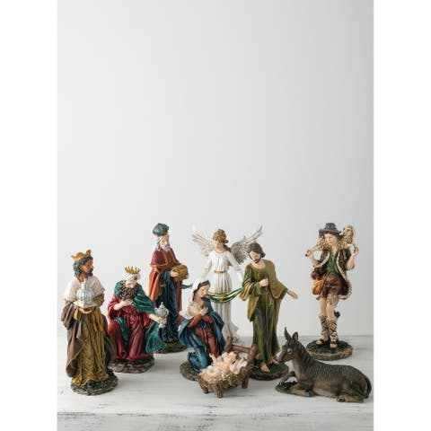 "Traditional Nativity - Set of 9 - 10,8.5,8""L x 8,6.5,7.5""W x 20,6.5,14.5""H"