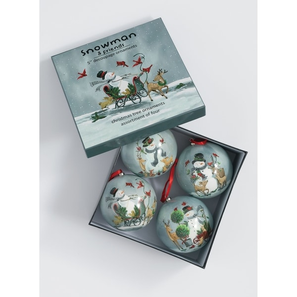 "Snowman & Sidekicks Ornament - Set of 4 - 4.5""L x 4.5""W x 5""H, 9.75""L x 9.75""W x 5""H"