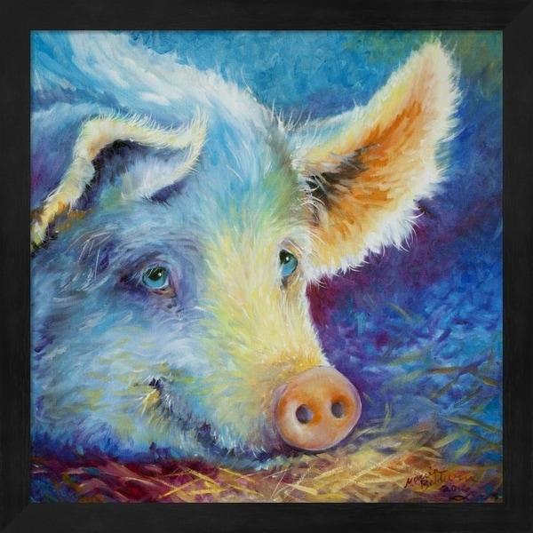 Marcia Baldwin 'Baby Blues Piggy' Framed Art