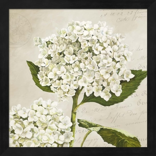 Remy Dellal 'Hydrangeas II (Neutre)' Framed Art