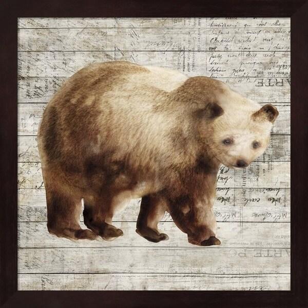 Isabelle Z 'Crossing Bear I' Framed Art