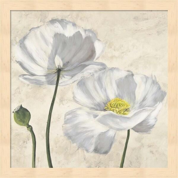 Luca Villa 'Poppies in White I' Framed Art