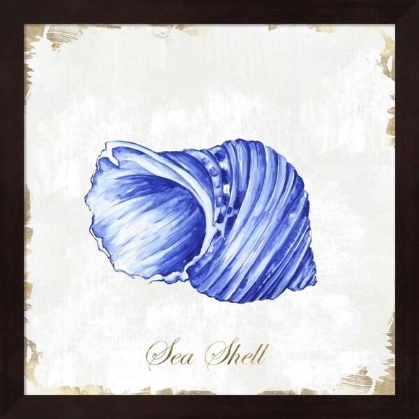 Eva Watts 'Blue Seashell' Framed Art
