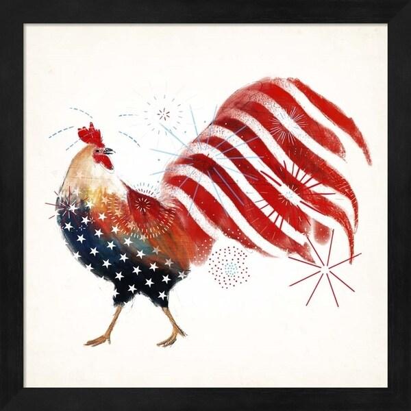 Victoria Borges 'Rooster Fireworks I' Framed Art