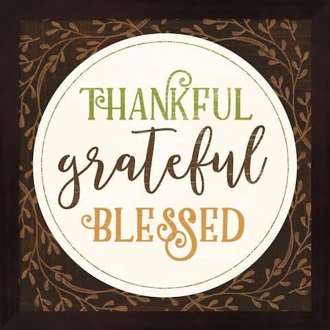 Mollie B. 'Thankful Grateful Blessed' Framed Art