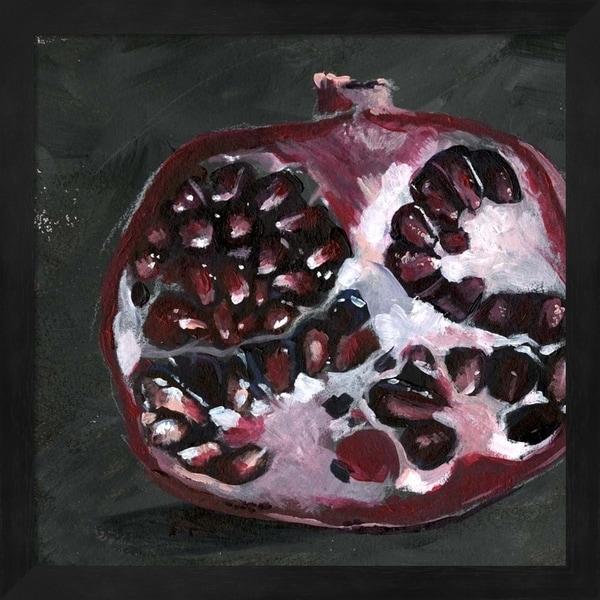Jennifer Parker 'Pomegranate Study on Black I' Framed Art
