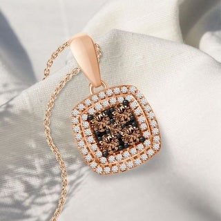 1 3 Cttw Round White Brown Natural Diamond Ladies Pendant W 18 Chain Necklace 10k Rose Gold
