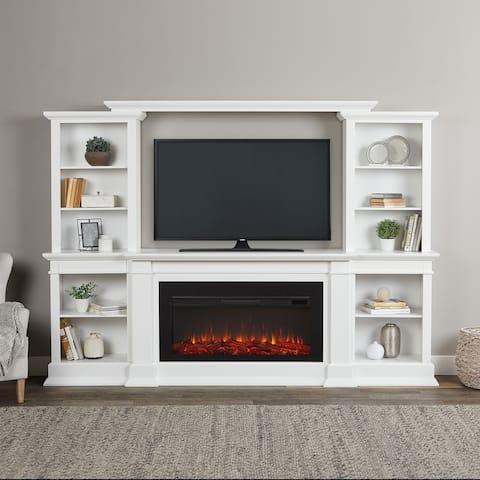 Monte Vista Media Electric Fireplace in White - 107.625L x 17.75W x 7H
