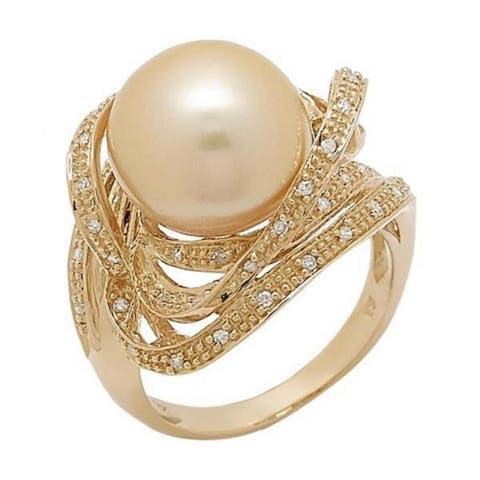 Pearl Lustre Genuine Golden South Sea Peal Ring with Diamonds