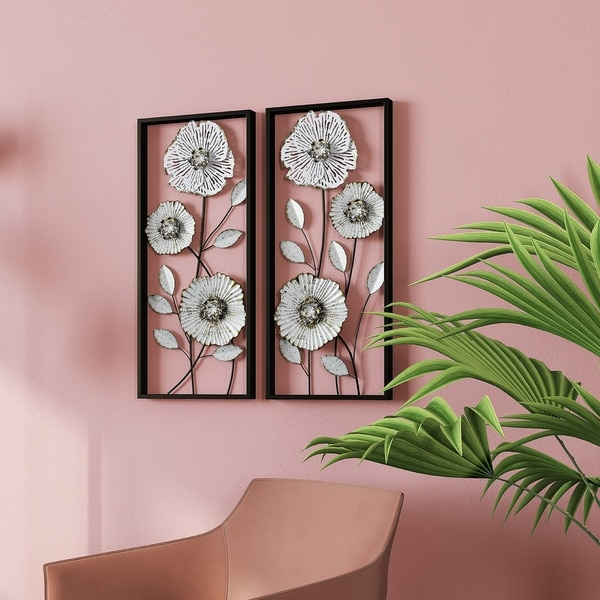 "Bianca Metal Flower Wall Decor (Set of 2) - 27.5""H x 12""W x 1.5""D"