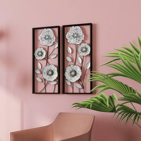 "Bianca Metal Flower Wall Decor (Set of 2) - 27.5""H x 12""W x 1.5""D"