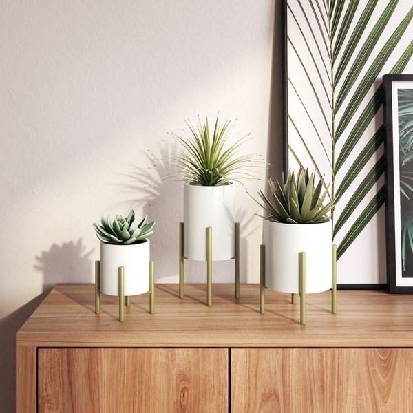 Brevyn Small Mid Century Modern Planters (Set of 3) - N/A