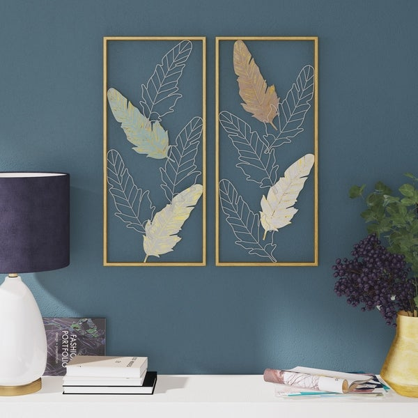 "Mina Metal Leaf Wall Decor (Set of 2) - 31.5""H x 14""W x 1""D. Opens flyout."