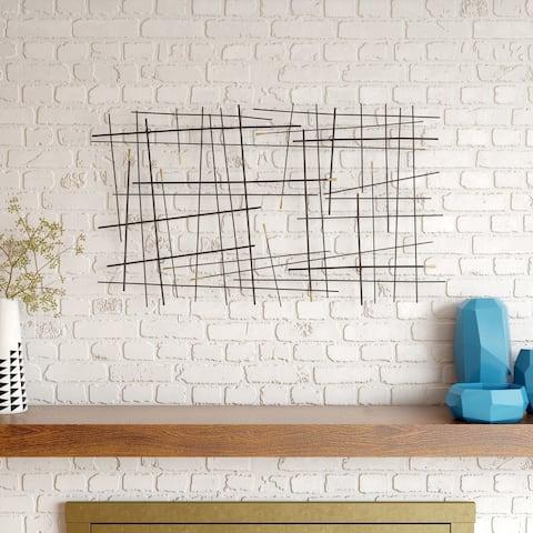 "Carson Carrington Juoksengi Modern Metal Wall Decor - 24.5""H x 42.5""W x 1.5""D"